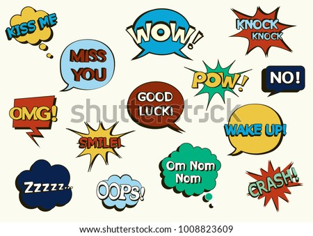 Set of comic speech bubbles on a white background. Pop art objects. Smile! Om Nom Nom. Zzzzz... Knock Knock. No! Wake up! Good luck! OMG! OOPS! Crash! Miss you. Kiss me. WOW! POW!Vector illustration. #1008823609