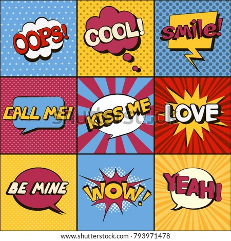 Set of comic speech bubbles. Pop art objects. Expressions Smile!, Cool, Call me, Oops, Wow, Love, Be mine, Kiss me, Yeah! Vector illustration. Stock fotó ©
