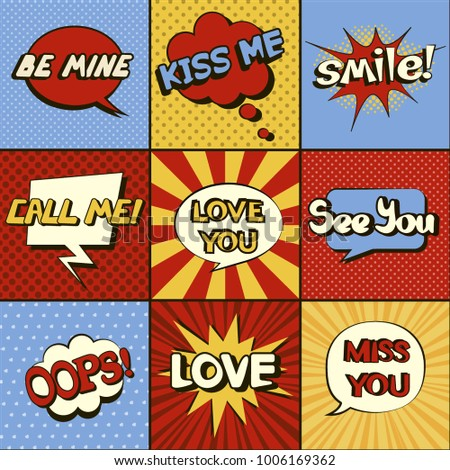 Set of comic speech bubbles. Pop art objects. Expressions Smile!, Love you, Call me, See you, Miss you, Love, Be mine, Kiss me, Oops! Traditional colors of retro comics. Vector illustration. Stock fotó ©