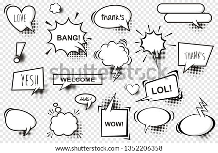 Set of comic speech bubbles. Vector Illustration and graphic elements
