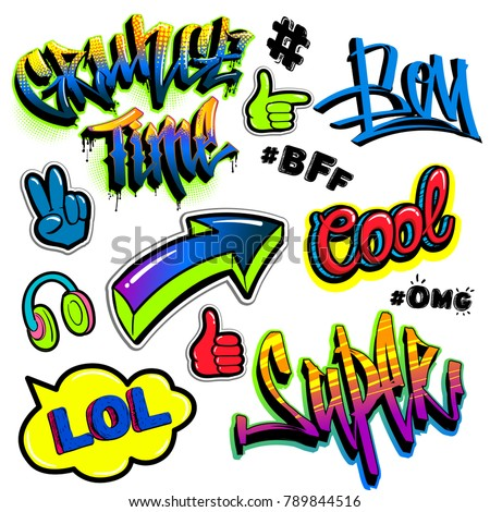 Set of comics badges elements, speech cloud, hashtag, headphones, arrow. Urban graffiti slyle words Grunge time, Super, Cool, bff, omg, lol. Hand sign victory, ok, directions