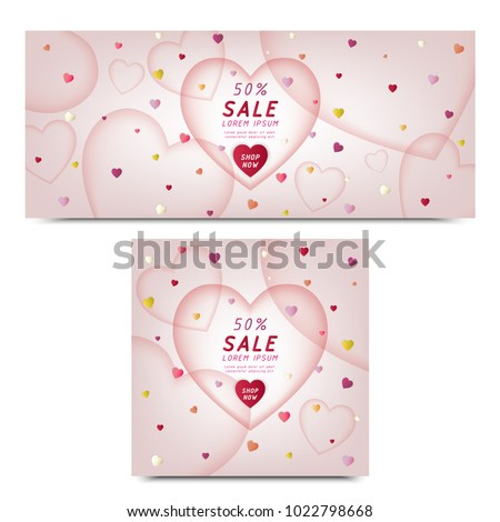 set of commercial banner heart layers frame ,colorful heart shape falling,cute vector illustration for commercial text,valentine's day,space for text