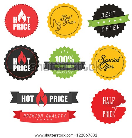 Set of commercial sale stickers, elements and badges