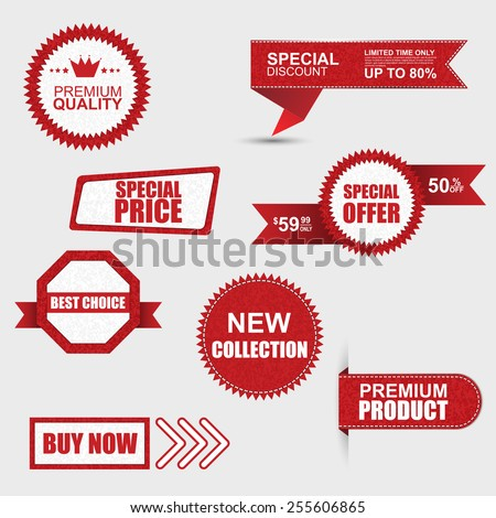 Set of commercial sale stickers, labels and banners