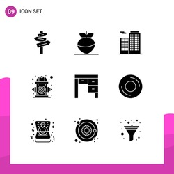 Set of 9 Commercial Solid Glyphs pack for furniture; decor; building; water; environment Editable Vector Design Elements