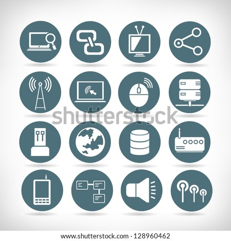 set of communication and network buttons, web application icon set