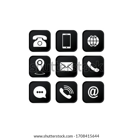 Set of communication icons set. Phone, mobile phone, retro phone, location, mail and web site symbols on isolated white background for applications, web, app. EPS 10 vector.