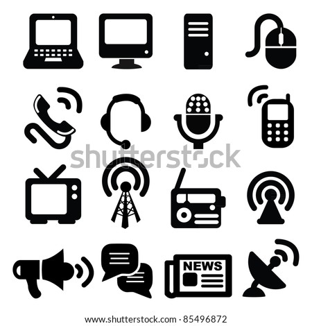 Set of communication icons-Silhouettes - stock vector