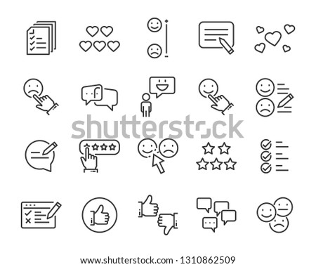 set of communication icons, such as chat, feedback, emotion, review #1310862509
