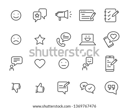 set of communication icons, such as chat, feedback, emotion, review #1369767476