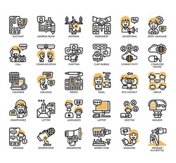 Set of communication thin line and pixel perfect icons for any web and app project.
