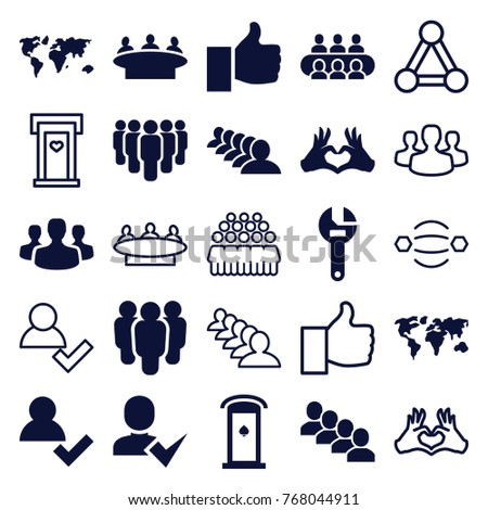 Set of 25 community filled and outline icons such as group, wrench, add user, world map, heart tag, thumb up, user group, connection, door with heart