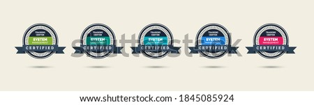Set of company training badge certificates to determine based on criteria. Standard verified modern vintage colorful vector illustration.