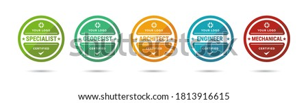 Set of company training badge certificates to determine based on criteria. Vector illustration certified logo design. Foto stock ©