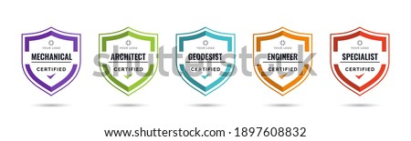 Set of company training badge certificates to determine based on criteria. Vector illustration certified logo design template. Foto stock ©