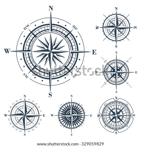 set of compass roses or...