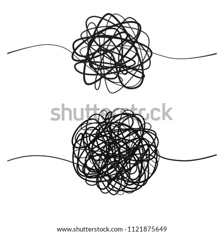 Set of complicated black line way.  Hand drawn tangle of tangled thread. Sketch spherical abstract scribble shape. Vector illustration isolated on white background