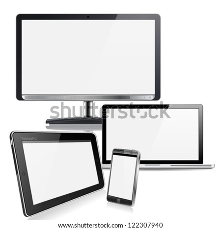 Set of Computer Devices - Monitor, Laptop, Tablet PC, Smartphone, isolated on white background - stock vector