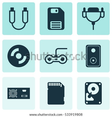 Set Of 9 Computer Hardware Icons. Can Be Used For Web, Mobile, UI And Infographic Design. Includes Elements Such As Memory Card, Portable Memory, Audio Device And More.