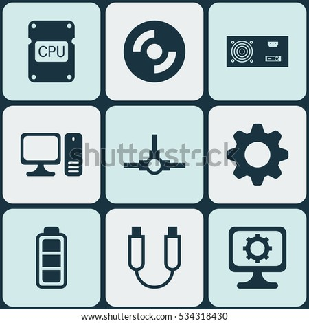 Set Of 9 Computer Hardware Icons. Can Be Used For Web, Mobile, UI And Infographic Design. Includes Elements Such As Settings, PC, Blank Cd And More.