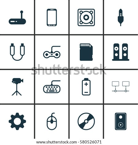 Set Of 16 Computer Hardware Icons. Includes Cd-Rom, Control Device, Connected Devices And Other Symbols. Beautiful Design Elements.