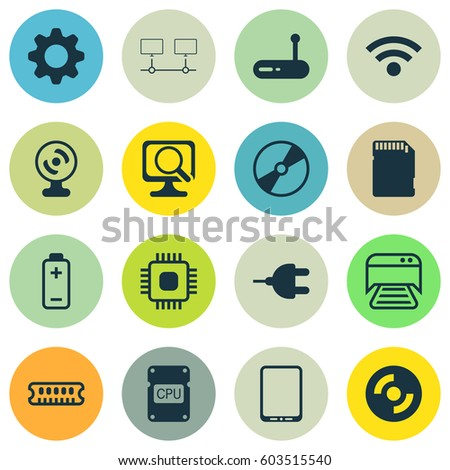 Set Of 16 Computer Hardware Icons. Includes Cd-Rom, Laptop, Settings And Other Symbols. Beautiful Design Elements.