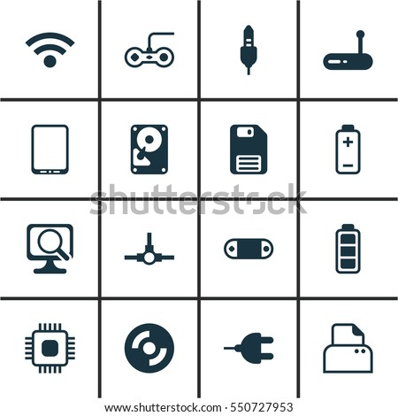 Set Of 16 Computer Hardware Icons. Includes Connector, File Scanner, Router And Other Symbols. Beautiful Design Elements.