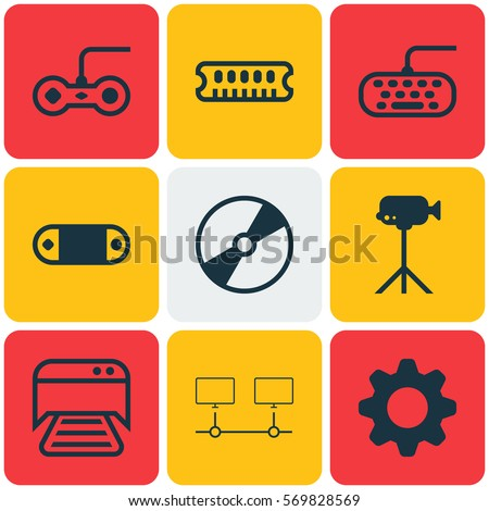 Set Of 9 Computer Hardware Icons. Includes Radio Set, Dynamic Memory, Settings And Other Symbols. Beautiful Design Elements.