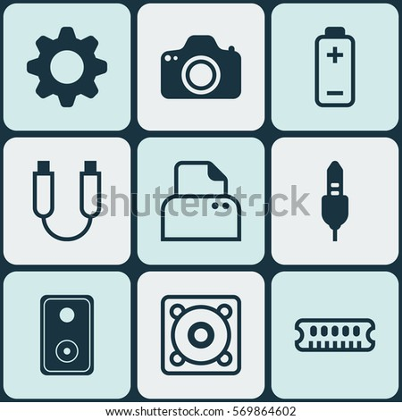 Set Of 9 Computer Hardware Icons. Includes Settings, Portable Memory, Audio Device And Other Symbols. Beautiful Design Elements.