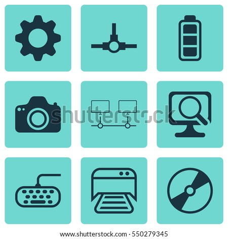 Set Of 9 Computer Hardware Icons. Includes Settings, Printed Document, Cd-Rom And Other Symbols. Beautiful Design Elements.