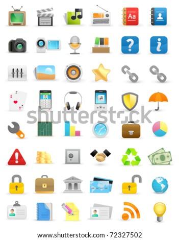 Set of computer icons on a white background