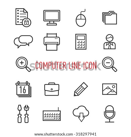 set of computer line icon isolated on white  background