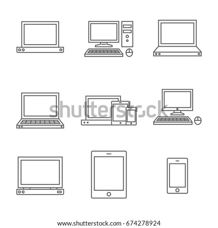 Set of computer line icon. Line icons with flat design elements on white background. Symbol for your web site design, logo, app, UI. Vector illustration, EPS