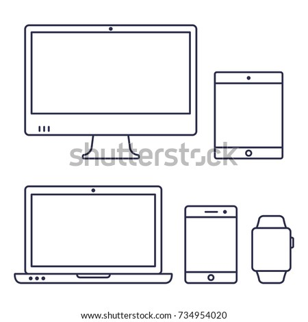 Set of computer monitor, laptop, smart watch, tablet and mobile phone line icon. Vector isolated simple gadgets.