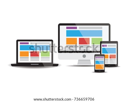 Set of computer monitors, laptops, notebooks, tablets and mobile phones. Electronic gadgets isolated on white background. Vector illustrator EPS 10.