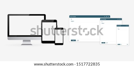 Set of Computer, Tablet and Phone. Open new email window. Design a simple blank web page. Template Send new email window on your PC, tablet and mobile phone.