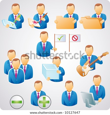 set of computer users, good for web-design, business concepts and computer icons