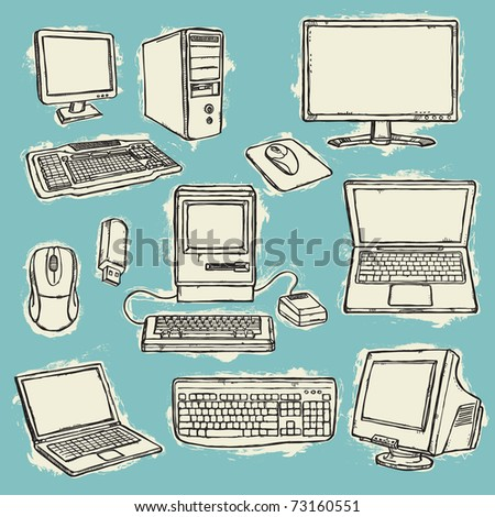 Set of computers - stock vector