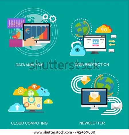 Set of concept for data protection, cloud computing, data analysis and newslette