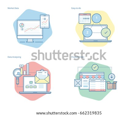 Set of concept line icons for business, management, marketing, e-commerce and shopping. UI/UX kit for web design, applications, mobile interface, infographics and print design.