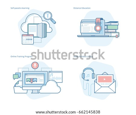 Set of concept line icons for distance education, audio and video library, online training and courses, self-paced e-learning. UI/UX kit for web design, applications, mobile interface, print design.