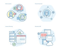 Set of concept line icons for online education, apps, virtual classroom, education network, lecture program for teachers. UI/UX kit for web design, applications, mobile interface, and print design.