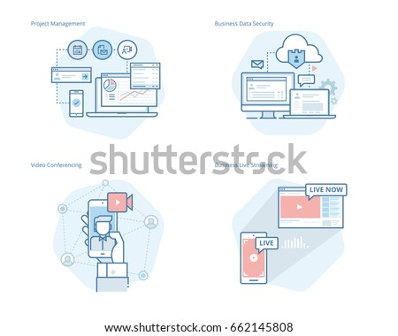 Set of concept line icons for project management, business data security, video conferencing, business live streaming. UI/UX kit for web design, applications, mobile interface, print design.