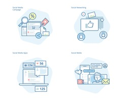 Set of concept line icons for social media, networking, marketing, social media campaign and apps. UI/UX kit for web design, applications, mobile interface, infographics and print design.