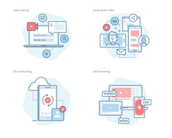 Set of concept line icons for social media video, cloud recording, VOD streaming, video security, online video streaming. UI/UX kit for web design, applications, mobile interface, print design.