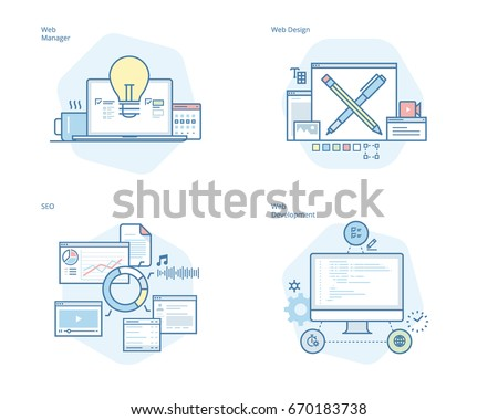 Set of concept line icons for web design and  development, SEO, web manager. UI/UX kit for web design, applications, mobile interface, infographics and print design.