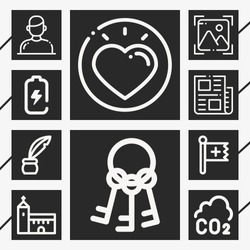 Set of 10 concept outline icons such as christian, inkwell, keys, battery, photo, user, news, church, love