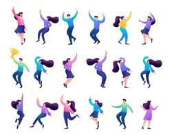 Set of concepts of celebrating people, dancing people, Bouncing, happy, enjoying.