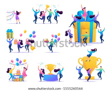 Set of concepts of celebrating the people, to celebrate a birthday, celebrate a party, enjoy the victory, to achieve success.