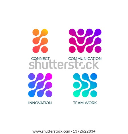 Set of Conceptual Abstract Business Symbols. Vector Signs with Gradients and Circles